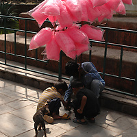 Boys selling cotton candy while a stray puppy watches at Swayambhunath - the Monkey Temple - in Nepal.