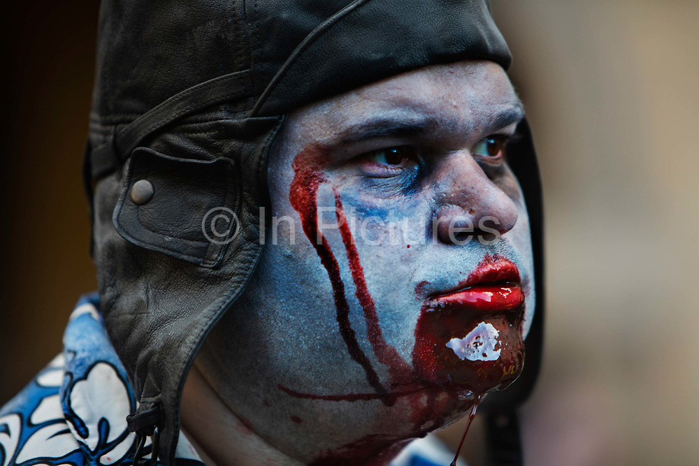 One of 2000 Goules who took part in the Zombie Walk, 8th October 2016, Paris, France. The walk went from Place de la Republique and finished at Place des Vosges. The event, an apocalyptic parade through Paris's historic downtown. Zombie walks as annual traditions are now relatively common in large cities, especially in North America.