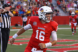 03 September 2016:  Jake Kolbe flips the ball to an official after scoring a TD on a keeper option. NCAA FCS Football game between Valparaiso Crusaders and Illinois State Redbirds at Hancock Stadium in Normal IL (Photo by Alan Look)