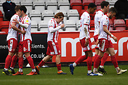 GOAL Stevenage midfielder Arthur Read (19)  scores a goal 3-1 and celebrates during the EFL Sky Bet League 2 match between Stevenage and Carlisle United at the Lamex Stadium, Stevenage, England on 20 March 2021.