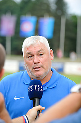 Bojan Jancar,head coach of ZNK Pomurje after the UEFA Women's Champions League Qualifying Match between ZNK Teleing Pomurje (SLO) and Olimpia Cluj (ROU) at Sportni Park on August 16, 2015 in Beltinci, Slovenia. Photo by Mario Horvat / Sportida