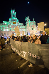 6 December 2019, Madrid, Spain: Faith-based participants from the Lutheran World Federation, the World Council of Churches and the ACT Alliance join in as thousands upon thousands of people march through the streets of central Madrid as part of a public contribution to the United Nations climate meeting COP25, urging decision-makers to take action for climate justice. Here, Lutheran World Federation delegate Fernanda Zuñiga from the Lutheran Church in Chile (right).