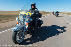 USS South Dakota submarine flag relay across South Dakota on the first day from Sturgis to Aberdeen. SD. USA. Saturday October 7, 2017. Photography ©2017 Michael Lichter.