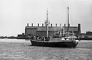 With her cargo of 600 tonnes of foodstuff, drugs and blankets for famine ridden Biafra, the Irish mercy ship Columcille sails out of Dublin, with Captain P. O'Saeghdha in command and a crew of 12, among which is a seaman priest, Rev. Fr. Joseph Fitzgibbon, the Limerick born Holy Ghost Father, who has volunteered as third engineer on the vessel..The ship sails out of Dublin Port..06.09.1968