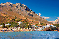 Vlychos Village & beach, Hydra,  Greek Saronic Islands. .<br /> <br /> Visit our GREEK HISTORIC PLACES PHOTO COLLECTIONS for more photos to download or buy as wall art prints https://funkystock.photoshelter.com/gallery-collection/Pictures-Images-of-Greece-Photos-of-Greek-Historic-Landmark-Sites/C0000w6e8OkknEb8