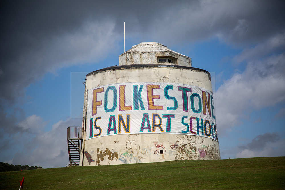 """@Licensed to London News Pictures 31/08/2017 Folkestone, Kent. """"Folkestone is an Art School"""" art installation by Bob & Roberta Smith is situated in many locations around the town during Folkestone Triennial 2017. Folkestone Triennial is the flagship project of the Creative Foundation, an independant arts charity enabling the regeneration of the seaside town of Folkestone in Kent through creative activity. Photo credit: Manu Palomeque/LNP"""