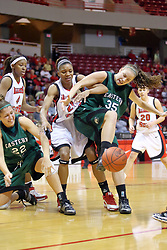 06 December 2008: Mary Lawson, Kenyatta Shelton and Kayla Vantil all struggle for a loose ball during a game between the Eastern Michigan Eagles and the Illinois State Redbirds on Doug Collins Court inside Redbird Arena on the campus of Illinois State University, Normal Il.