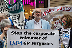 Former Labour Party leader Jeremy Corbyn joins health workers and supporters at a rally organised by Doctors in Unite outside the Department of Health and Social Care on 5th July 2021 in London, United Kingdom. The rally was organised to mark the 73rd birthday of the National Health Service and in protest against the sale of one of the UK's biggest GP practice operators to the US health insurance group Centene Corporation.
