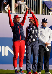 Solheim Cup 2019 at Centenary Course at Gleneagles in Scotland, UK. Jessica and Nelly Korda of USA acknowledge fans on 1st tee on Friday morning foursomes.