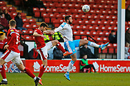 Ollie Palmer jumps to head the ball during the EFL Sky Bet League 2 match between Walsall and Crawley Town at the Banks's Stadium, Walsall, England on 18 January 2020.