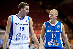 Dejan Musli of Serbia and Edo Muric of Slovenia during the U-18 All Star game at EuroBasket 2009, on September 18, 2009 in Arena Spodek, Katowice, Poland.  (Photo by Vid Ponikvar / Sportida)