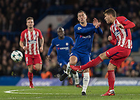 Football - 2017 / 2018 UEFA Champions League - Group C: Chelsea vs. Atletico Madrid<br /> <br /> Eden Hazard (Chelsea FC)  whinces as he collides with Saul Niguez (Atletico Madrid) at Stamford Bridge.<br /> <br /> COLORSPORT/DANIEL BEARHAM