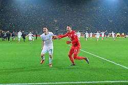 05.02.2019, Signal Iduna Park, Dortmund, GER, DFB Pokal, Borussia Dortmund vs SV Werder Bremen, Achtelfinale, im Bild Jubel bei Max Kruse (SV Werder Bremen #10), links, und Jiri Pavlenka (SV Werder Bremen #1), von hinten stürmen die Mitspieler herbei nach der Entscheidung im Elfmeterschiessen // during the German Pokal round of 16 match between Borussia Dortmund and SV Werder Bremen at the Signal Iduna Park in Dortmund, Germany on 2019/02/05. EXPA Pictures © 2019, PhotoCredit: EXPA/ Andreas Gumz<br /> <br /> *****ATTENTION - OUT of GER*****
