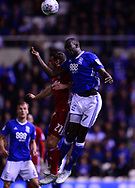 Cheikh Ndoye of Birmingham wins a header over Craig Bryson of Cardiff City  .EFL Skybet championship match, Birmingham city v Cardiff city at St.Andrew's stadium in Birmingham, the Midlands on Friday 13th October 2017.<br /> pic by Bradley Collyer, Andrew Orchard sports photography.