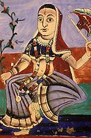 Inde - Rajasthan - region du Shekawati - Village de Mandawa - Peinture sur la façade d'une Haveli (Palais) )-