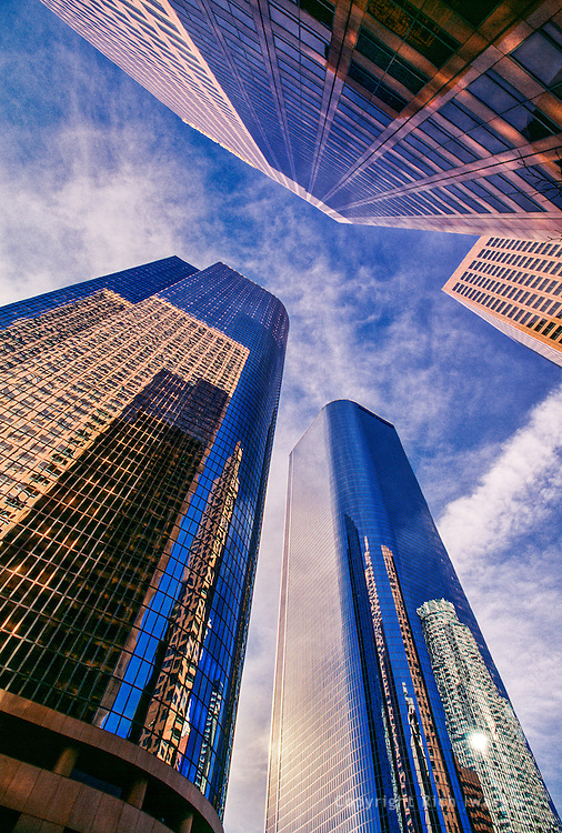 Low angle view of office buildings in Central Business District, Los Angeles, California