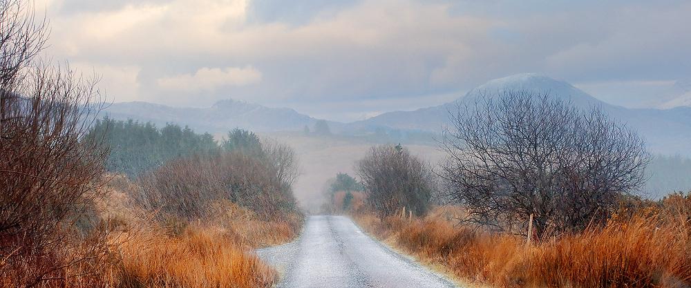 Hail Shower Winter Panorama of Kerry Highlands, County Kerry, Ireland / ba053