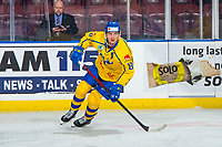 KELOWNA, BC - DECEMBER 18:  Jacob Olofsson #18 of Team Sweden warms up against the Team Russia at Prospera Place on December 18, 2018 in Kelowna, Canada. (Photo by Marissa Baecker/Getty Images)***Local Caption***