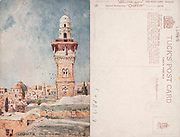 Front and back of an Illustrated Picture postcard Jerusalem, The Temple Area, Dome of the Mosque of Omar and the Wailing wall <br /> From the Holy Land Series II Printed in the United Kingdom by Tuck's Post Card (Raphael Tuck & Sons) in 1903 <br /> Illustrated by Fulleylove, John, 1847-1908