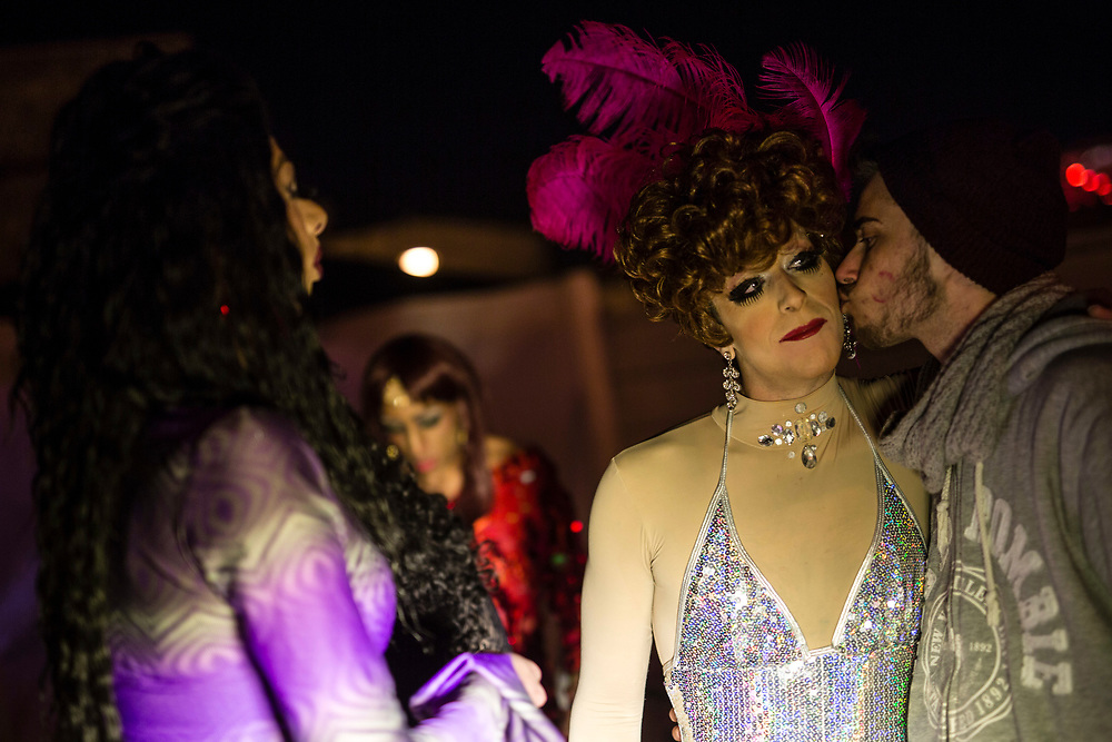 Israeli drag queens are seen prior to a 'Drag Race' organized by The Jerusalem LGBT (lesbian, gay bisexual and transgender) community, in which competitors raced down a 50 meter stretch, wearing high heels, in central Jerusalem, Israel, on February 16, 2015. The event is part of the city's annual 'Winter Noise Festival' also dubbed 'Sound of Winter Festival' which features street performances, open bars and street art exhibitions.