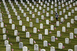 May 29, 2017 - San Bruno, California, U.S - A person walks through the Golden Gate National Cemetery on Memorial Day in San Bruno, California. (Credit Image: © Joel Angel Juarez via ZUMA Wire)