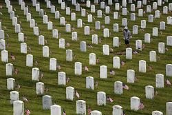 May 29, 2017 - San Bruno, California, U.S - A person walks through the Golden Gate National Cemetery on Memorial Day in San Bruno, California. (Credit Image: © Joel Angel Juarez via ZUMA Wire)