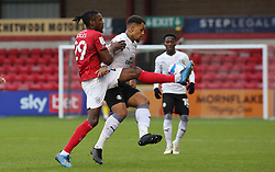 Jonson Clarke-Harris of Peterborough United battles with Omar Beckles of Crewe Alexandra - Mandatory by-line: Joe Dent/JMP - 14/11/2020 - FOOTBALL - Alexandra Stadium - Crewe, England - Crewe Alexandra v Peterborough United - Sky Bet League One