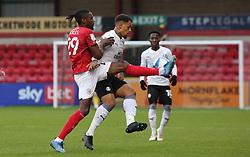Jonson Clarke-Harris of Peterborough United battles with Omar Beckles of Crewe Alexandra - Mandatory by-line: Joe Dent/JMP - 14/11/2020 - FOOTBALL - Alexandra Stadium - Crewe, England - Crewe Alexandra v Peterborough United - Sky Bet League One