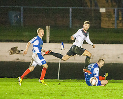 Falkirk's Rory Loy passes to Falkirk's Phil Roberts.<br /> Cowdenbeath 0 v 2 Falkirk, Scottish Championship game today at Central Park, the home ground of Cowdenbeath Football Club.<br /> © Michael Schofield.