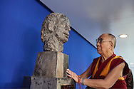 HHDL  paying respect to Vaclav Havel statue