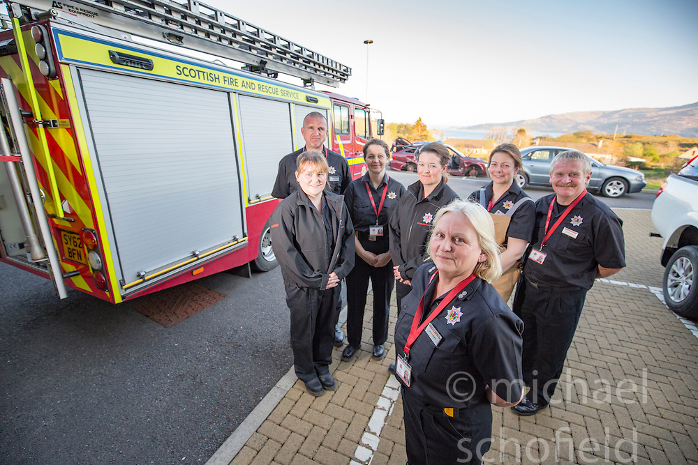 Rob Capell (back), l-r Sarah Jones, Bobby Zealand, Heather Brown, Annabel Lawrence, Keith Adams. Watch Manager Lesley Jones (front). News feature on the nearly all-female firefighting crew based at the Fire Shed, Lochaline, on the Morvern Peninsula.