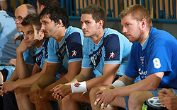 Team Slovenia (Brumen, Spiler, Kavas, Mlakar) at  handball game between men national teams of Slovenia and Slovakia, first qualification game for the World Chamionship 2009, on June 7, 2008, in Arena Zlatorog, Celje, Slovenija. Result: 33 : 33. (Photo by Vid Ponikvar / Sportal Images)