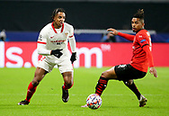 Jules Kounde of Sevilla FC, Dalbert Henrique of Stade Rennais during the UEFA Champions League, Group E football match between Stade Rennais and Sevilla FC (FC Seville) on December 8, 2020 at Roazhon Park in Rennes, France - Photo Jean Catuffe / ProSportsImages / DPPI