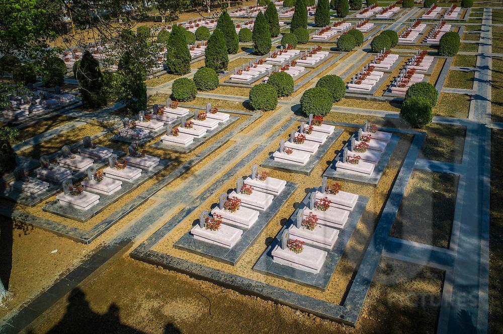Top view of the Cemetery of Vietnamese Martyrs in Hill A1 'Eliane 2,' (estimated 644 tombs) Dien Bien Phu City center, Dien Bien Province, Vietnam, Southeast Asia