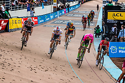 Peloton with Mike TEUNISSEN finishing 11th and Taylor PHINNEY finishing 8th during the 2018 Paris-Roubaix race at Velodrome Roubaix, France, 8 April 2018, Photo by Pim Nijland / PelotonPhotos.com   All photos usage must carry mandatory copyright credit (Peloton Photos   Pim Nijland)