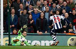 Stoke City's Asmir Begovic pulls off a great save from West Bromwich Albion's Stephane Sessegnon - Photo mandatory by-line: Matt Bunn/JMP - Tel: Mobile: 07966 386802 19/10/2013 - SPORT - FOOTBALL - Britannia Stadium - Stoke-On-Trent - Stoke City V West Brom - Barclays Premier League