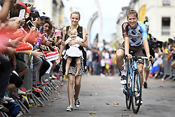 July 11, 2017 - Bergerac, FRANCE - Belgian Jan Bakelants of AG2R La Mondiale, his girlfiend Daphne and his daughter Julia pictured before the start of the tenth stage of the 104th edition of the Tour de France cycling race, 178km from Perigueux to Bergerac, France, Tuesday 11 July 2017. This year's Tour de France takes place from July first to July 23rd. BELGA PHOTO YORICK JANSENS (Credit Image: © Yorick Jansens/Belga via ZUMA Press)