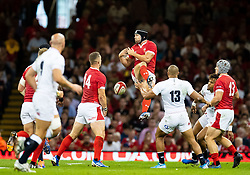 Leigh Halfpenny of Wales is unable to claim the high ball<br /> <br /> Photographer Simon King/Replay Images<br /> <br /> Friendly - Wales v England - Saturday 17th August 2019 - Principality Stadium - Cardiff<br /> <br /> World Copyright © Replay Images . All rights reserved. info@replayimages.co.uk - http://replayimages.co.uk