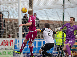 Dumbarton's keeper Robbie Mutch can't stop Arbroath's Ryan Wallace's cross ending in the goal. Arbroath 3 v 1 Dumbarton, Scottish Football League Division One played 20/10/2018 at Arbroath's home ground, Gayfield Park.