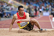 Lawrence Davis competing in the Men's Triple Jump Final. The British Championships 2016, athletics event at the Alexander Stadium in Birmingham, Midlands  on Saturday 25th June 2016.<br /> pic by John Patrick Fletcher, Andrew Orchard sports photography.