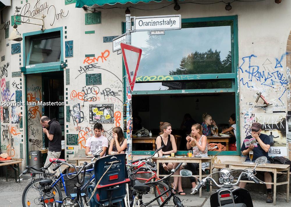 Grungy cafe on Oranienstrasse in bohemian district of Kreuzberg  in Berlin Germany