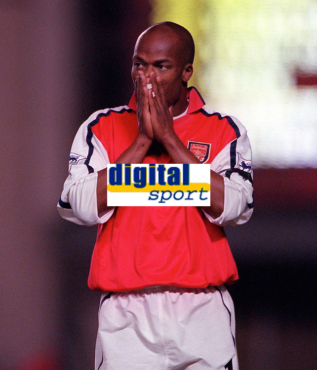 Dejected Arsenal forward Sylvian Wiltord after his shot is saved by Ipswich goalkeeper Richard Wright . Arsenal 1:2 Ipswich Town, Worthington Cup, Third Round, 1/11/2000. Credit Colorsport / Stuart MacFarlane.