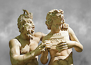 2nd century AD Roman marble sculpture of Pan teaching Daphnis to play the pipes, a Roman copy late 2nd century BC Hellenistic Geek original attributed to Rodes sculptor Heliodoros. Pan's and Daphnis' heads and Daphnis' right arm are restorations.  The Farnese collection, Naples Museum of Archaeology, Italy ..<br /> <br /> If you prefer to buy from our ALAMY STOCK LIBRARY page at https://www.alamy.com/portfolio/paul-williams-funkystock/greco-roman-sculptures.html . Type -    Naples    - into LOWER SEARCH WITHIN GALLERY box - Refine search by adding a subject, place, background colour, etc.<br /> <br /> Visit our ROMAN WORLD PHOTO COLLECTIONS for more photos to download or buy as wall art prints https://funkystock.photoshelter.com/gallery-collection/The-Romans-Art-Artefacts-Antiquities-Historic-Sites-Pictures-Images/C0000r2uLJJo9_s0