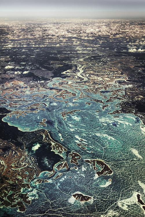 Aerial View of Dnieper River, Ukraine