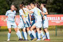 Players of ZNK Pomurje celebrating their goal during football match between ZNK Pomurje and Rigas Futbal Skola in 1st qualifying round for UEFA Women's Champions League 2021/22, on 18 of Avgust, 2021 in TSC Trate Gornja Radgona, Gornja Radgona, Slovenia. Photo by Blaž Weindorfer / Sportida
