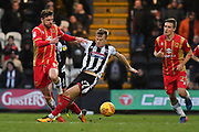 MK Dons midfielder Alex Gilbey (8) and Grimsby Town defender Luke Hendrie (27) during the EFL Sky Bet League 2 match between Grimsby Town FC and Milton Keynes Dons at Blundell Park, Grimsby, United Kingdom on 26 January 2019.