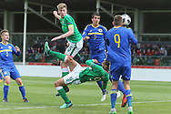 Nathan Collins of Republic of Ireland (5) scores but disallowed during the UEFA European Under 17 Championship 2018 match between Bosnia and Republic of Ireland at Stadion Bilino Polje, Zenica, Bosnia and Herzegovina on 11 May 2018. Picture by Mick Haynes.