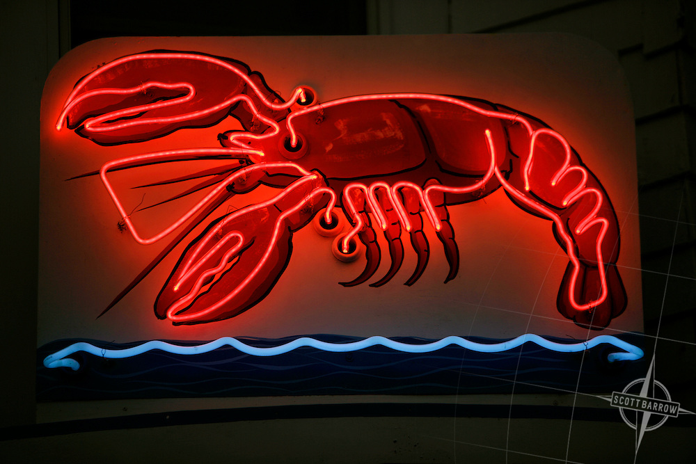 Neon red lobster sign