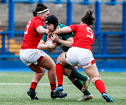 Ciara Griffin of Ireland tries to break through <br /> <br /> Photographer Simon King/Replay Images<br /> <br /> Six Nations Round 5 - Wales Women v Ireland Women- Sunday 17th March 2019 - Cardiff Arms Park - Cardiff<br /> <br /> World Copyright © Replay Images . All rights reserved. info@replayimages.co.uk - http://replayimages.co.uk