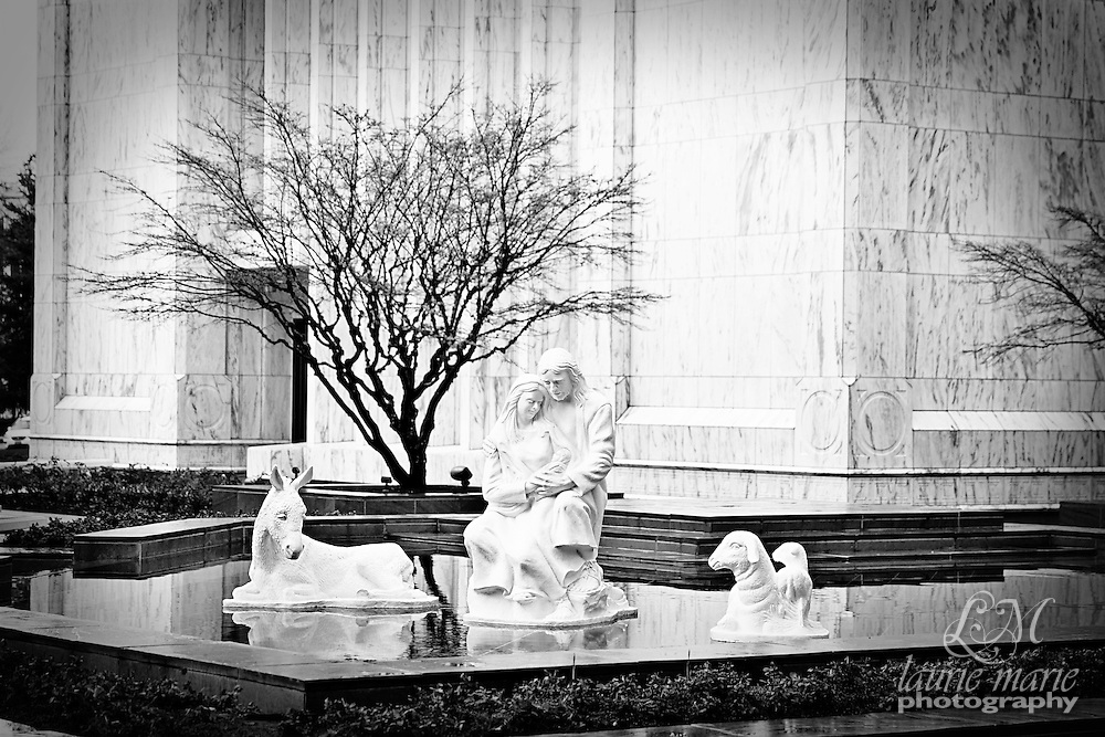 Christmas Nativity in the reflecting pool of the Portland OR LDS Mormon Temple in Black & White